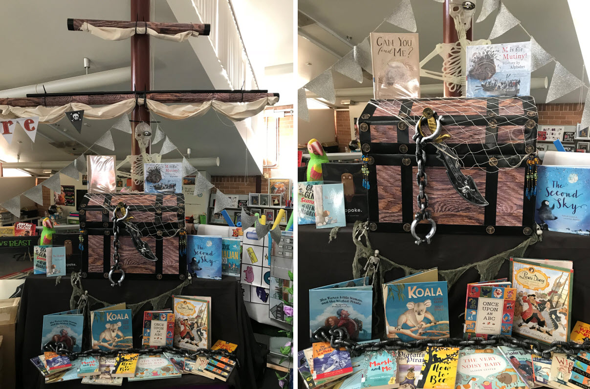 Pirate ship, treasure chest and children's books in Book Week library display