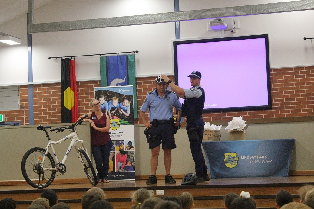 Lake Illawarra police on the school stage.