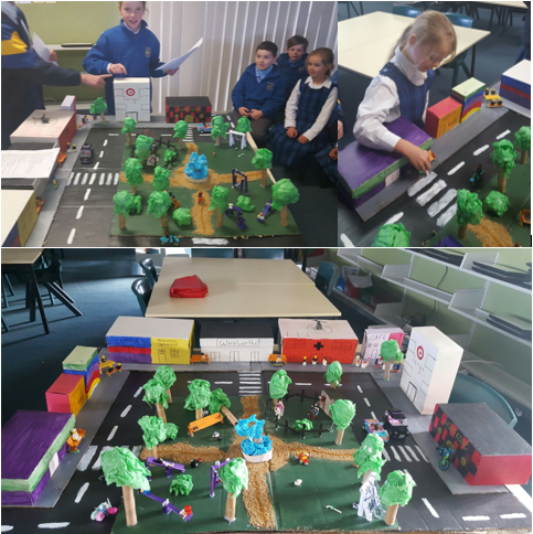 Two images of the students work on a road safety diorama.