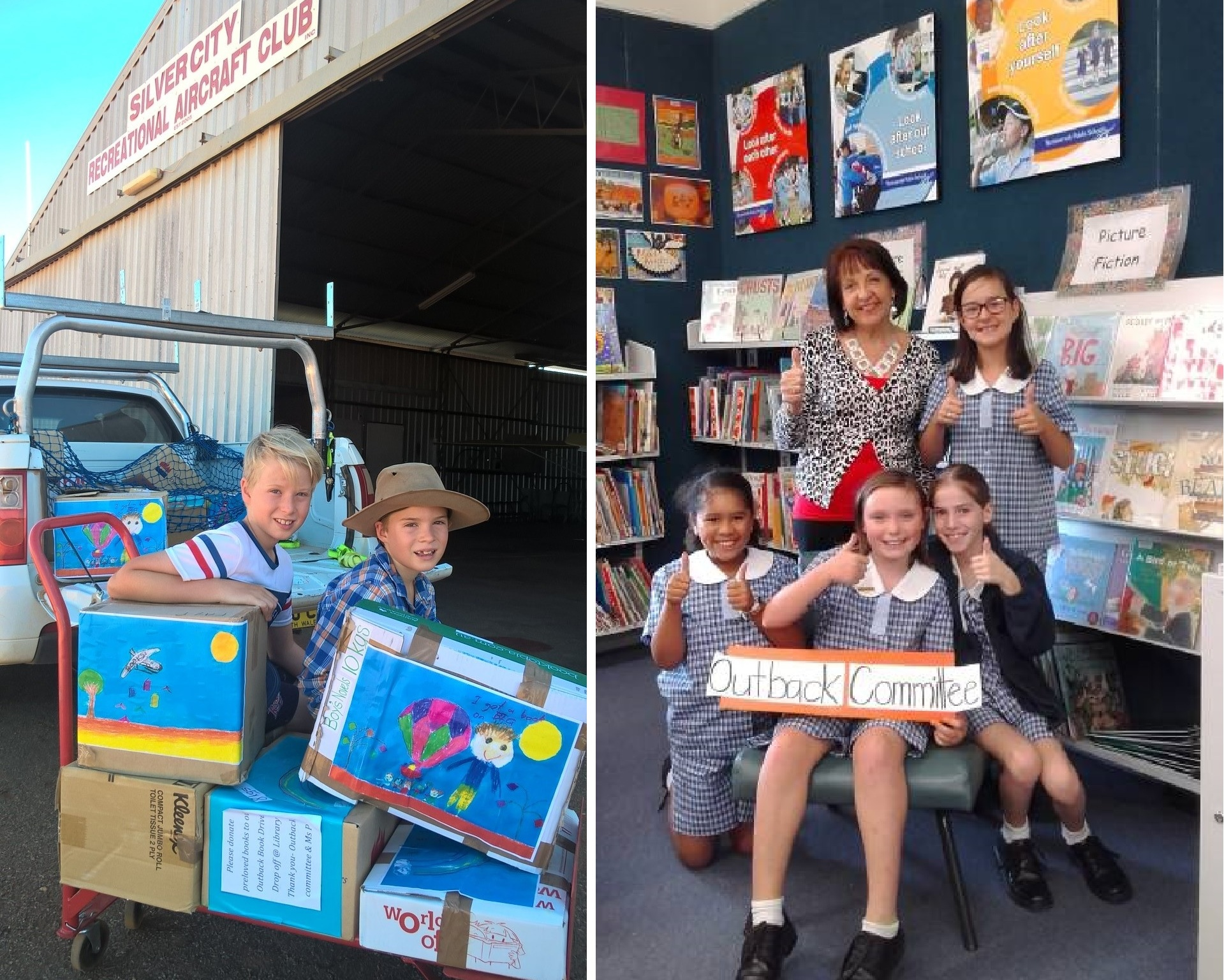 2 photos - boys sitting with a trolley of books at the Borken Hill hangar and Fay Prideaux with smiling students in her library