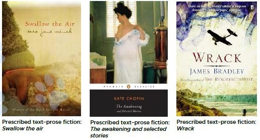 An image of three book covers for prescribed fiction, Swallow the air, the awakening and selected stories and wrack