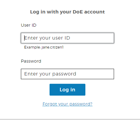 Screenshot of step 2 - DoE account sign on page