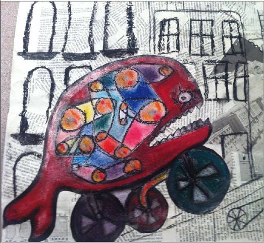 Chloe's work sample for 3D and 2D angles inspired by Shaun Tan's, 'The lost thing'