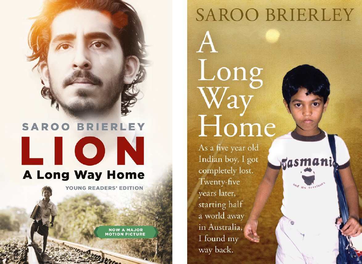 2 book covers for Lion: A Long Way Home. The original cover and the cover linked to the film