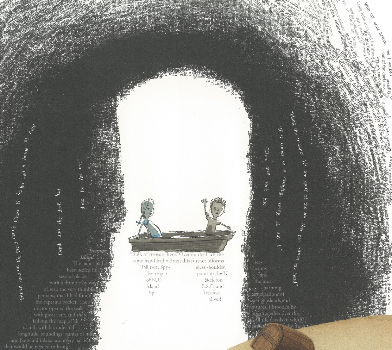 Illustration from 'A Child of Book's showing a cave and two children in a row boat