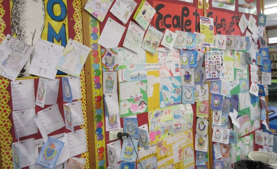Book Week display, with student drawings and other compositions pinned to a noticeboard