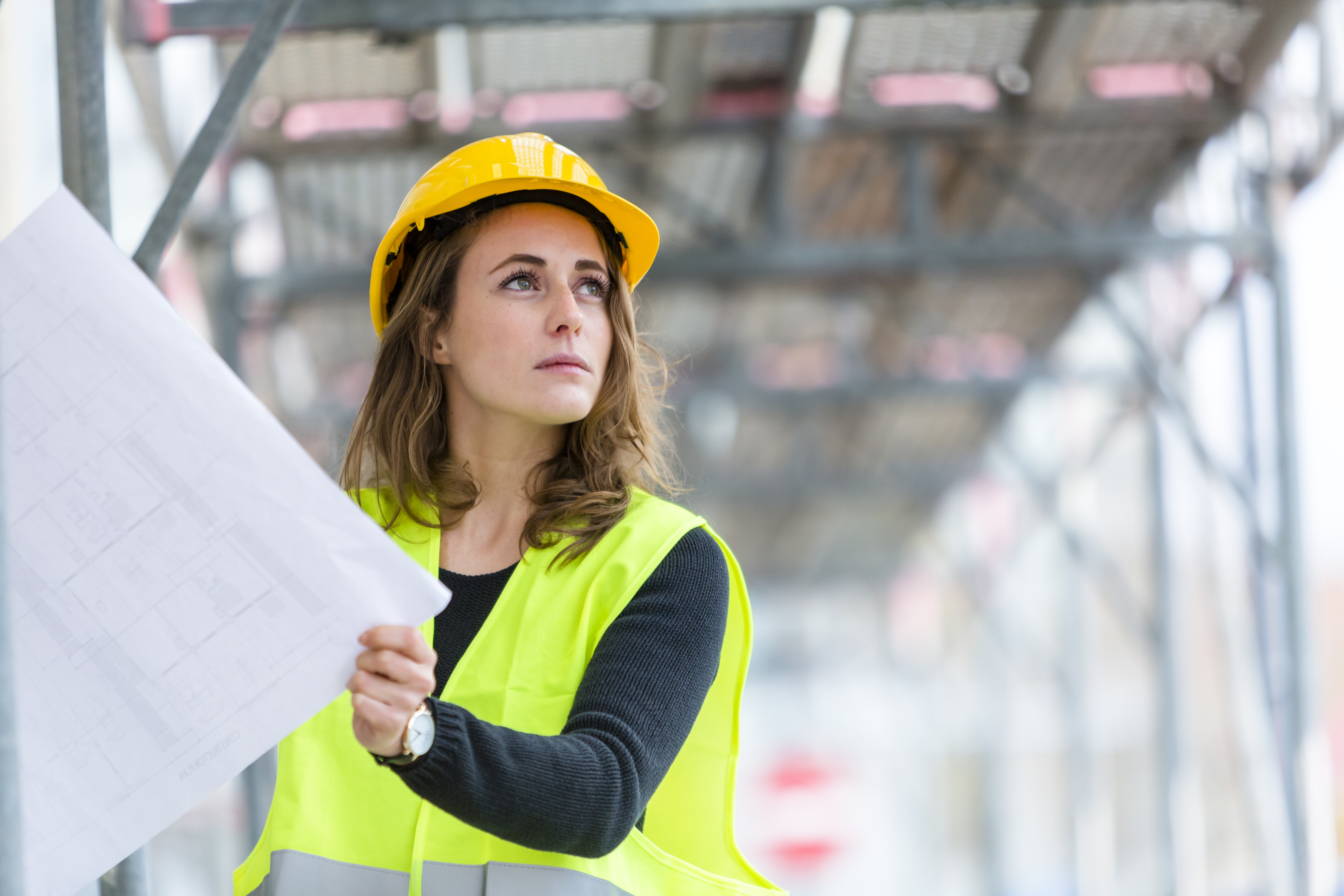Woman on building site