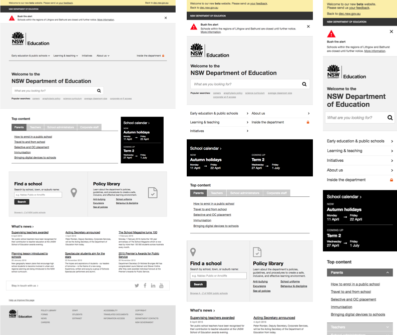Wireframes of the beta prototype for desktop, tablet and mobile screens.