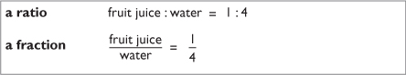 a ratio example and a fraction example