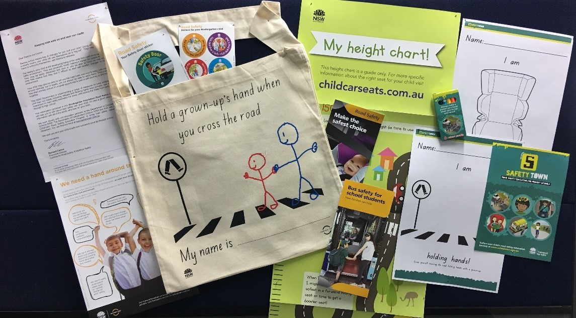 Contents of the Kindergarten Orientation Road Safety Library Bag spread out on a flat surface