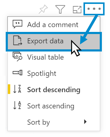 Selecting the Export data option