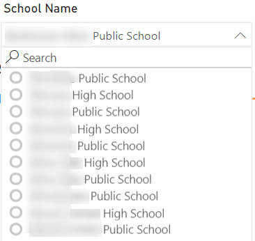 Select a school using the slicer