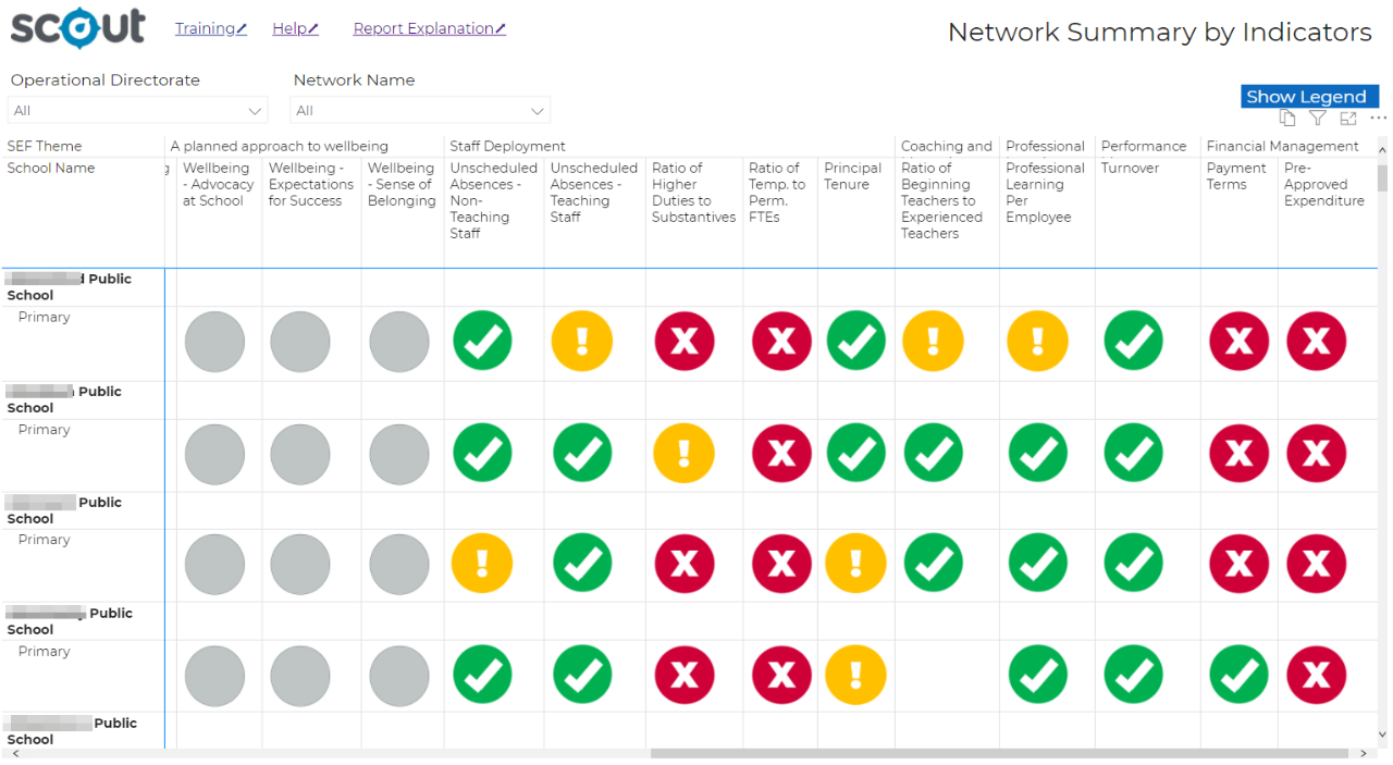 An example of network summary by indicators