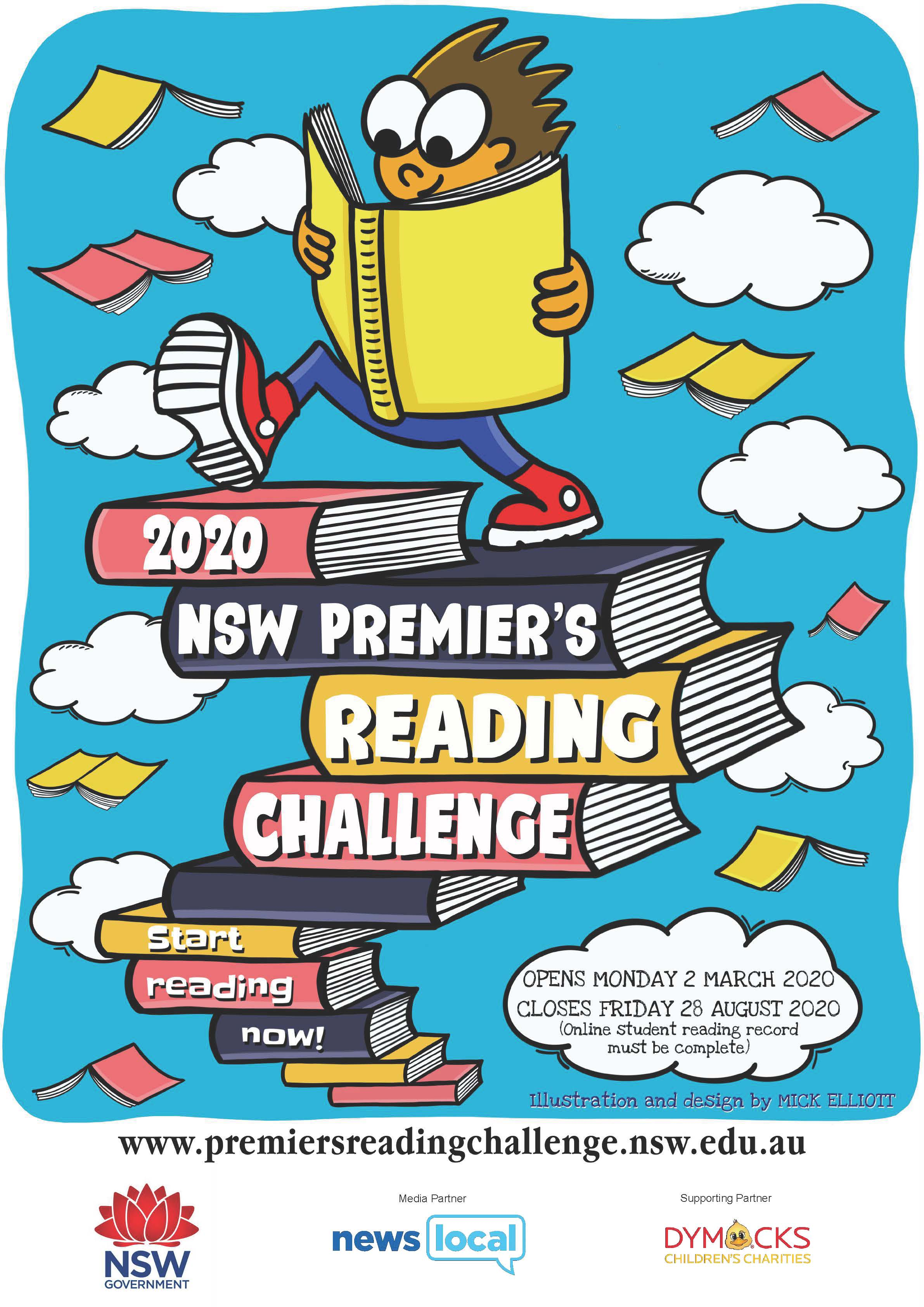 premiers reading challenge poster with picture of a cartoon figure climbing a staircase of books