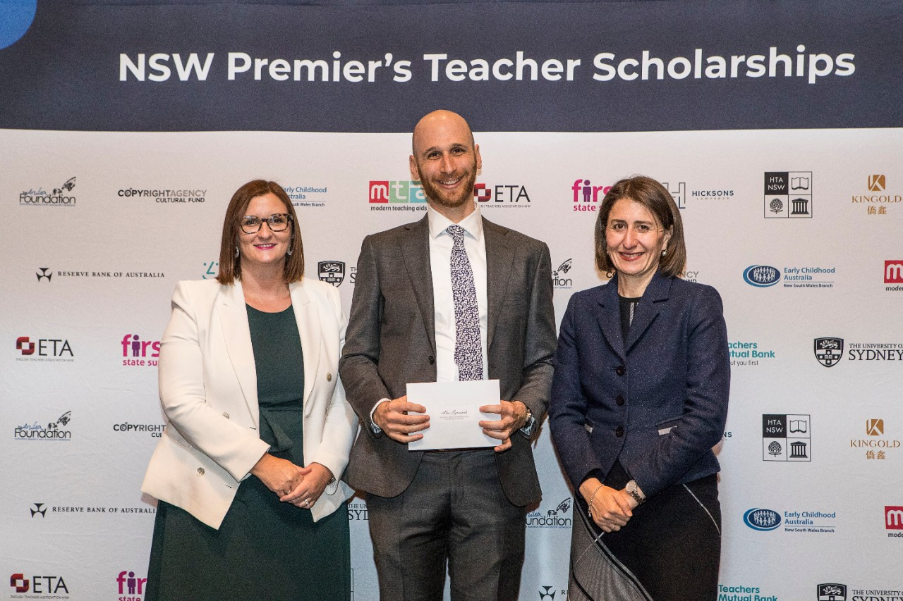Left to right - The Hon. Sarah Mitchell MLC, Minister for Education, Recipient Alexander Symonds and The Hon. Gladys Berejiklian, NSW Premier.