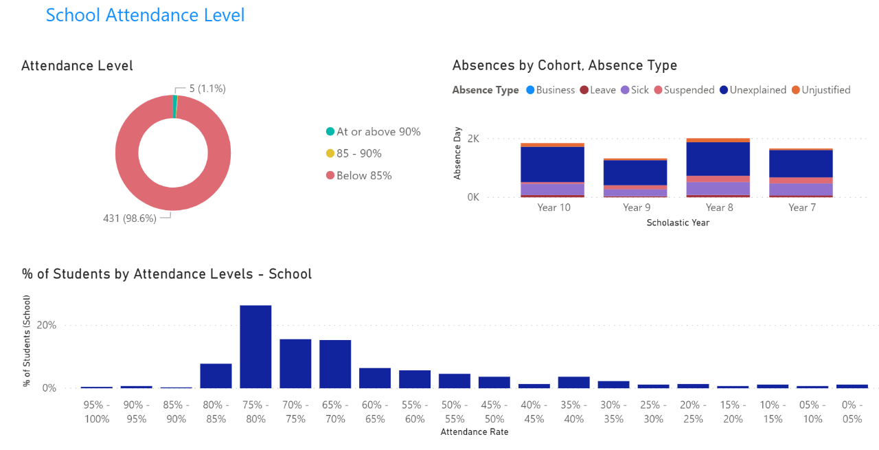 Example of school attendance level visuals