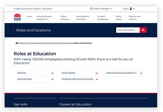 Screenshots of landing page template on education.nsw website.