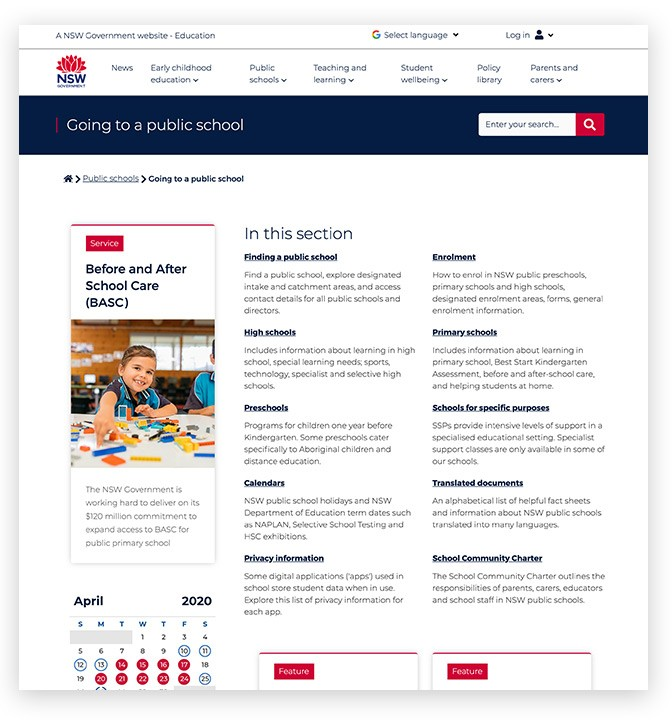 Screenshot of level 2 hub template on education.nsw website.