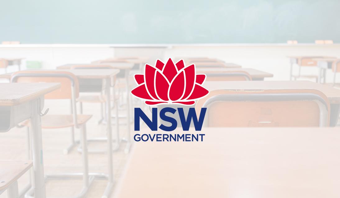 NSW DoE Logo overlaid background image of classroom