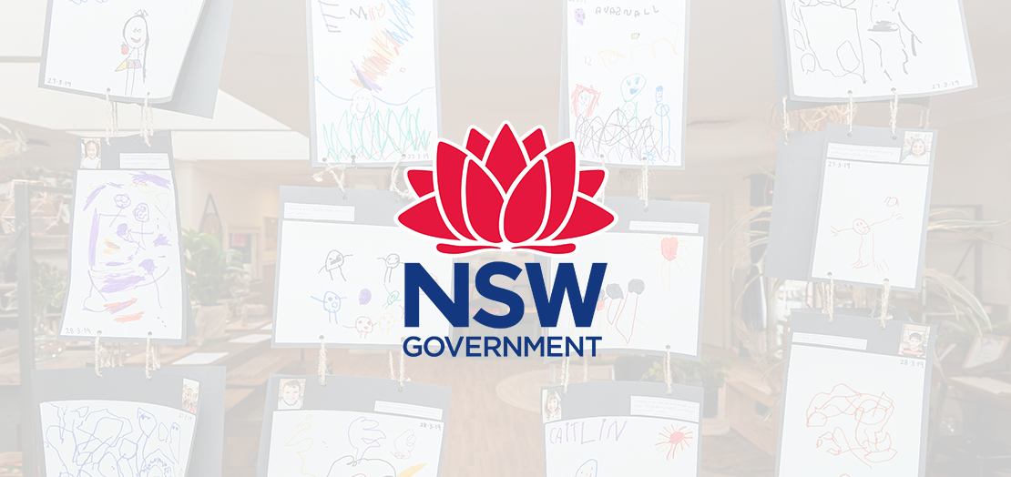 NSW Government logo with children's paintings in the background.
