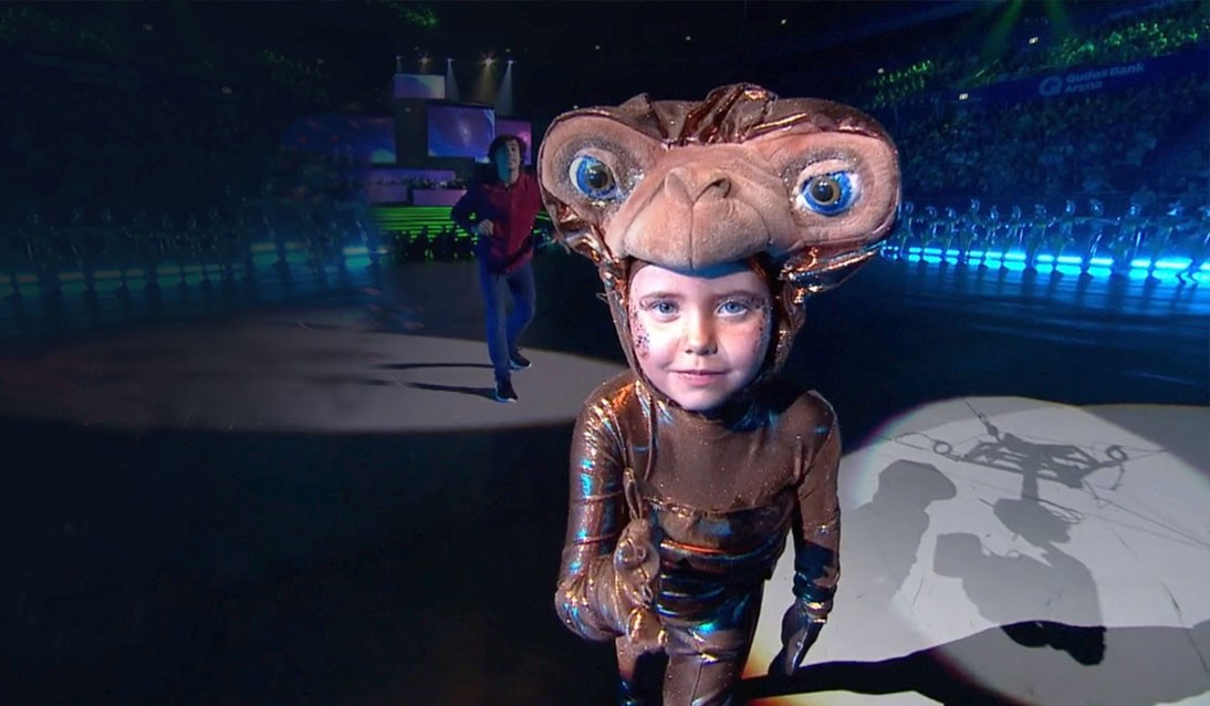 A student in the 2019 Schools Spectacular dressed as an alien.