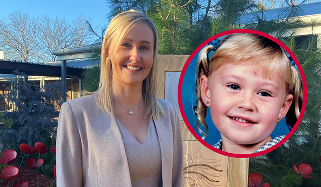 Then and now … Sarah Casuccio as a student and now principal at Milperra Public School.