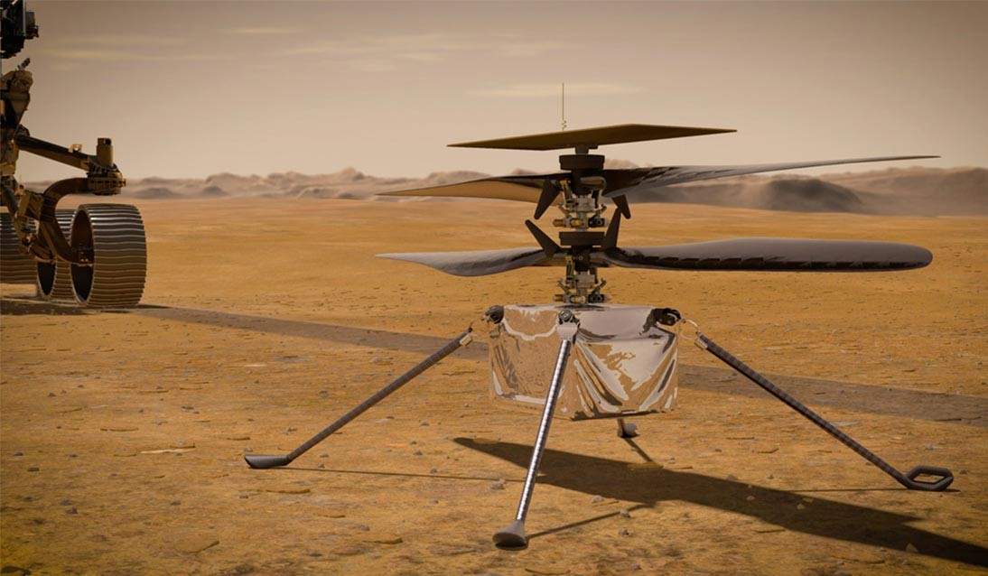 Computer rendering of a small drone on Mars.
