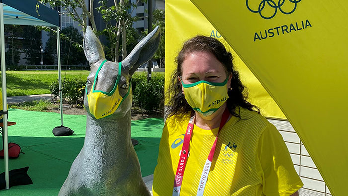 Caroline David on site at the Olympic Village in Tokyo