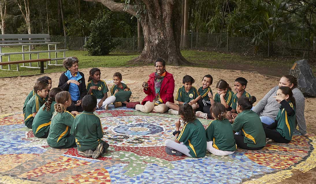 Two teachers and group of primary students sitting in a circle in giant mandala