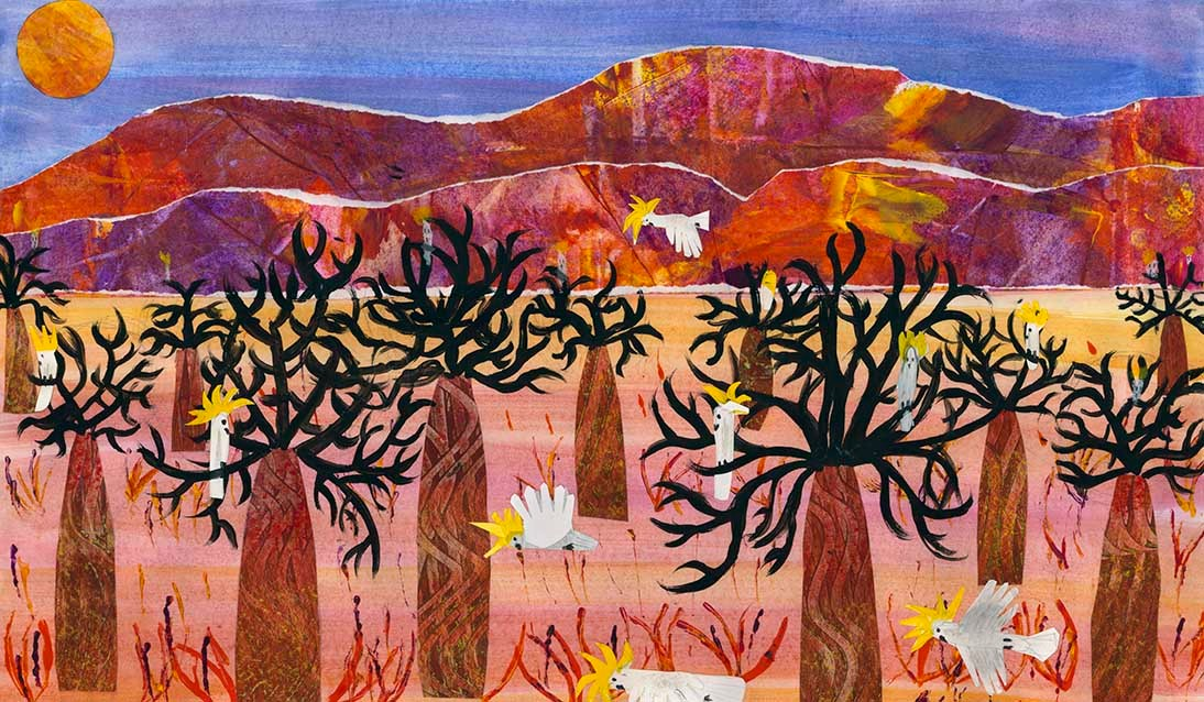 Artwork with blue sky, brown mountain rocks in background with trees with brown trunks and black foliage in foreground with white cockatoos with yellow crests scattered across the artwork.