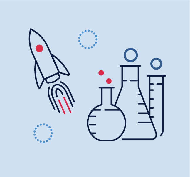 Graphic of a rocket and some test tubes and beakers.