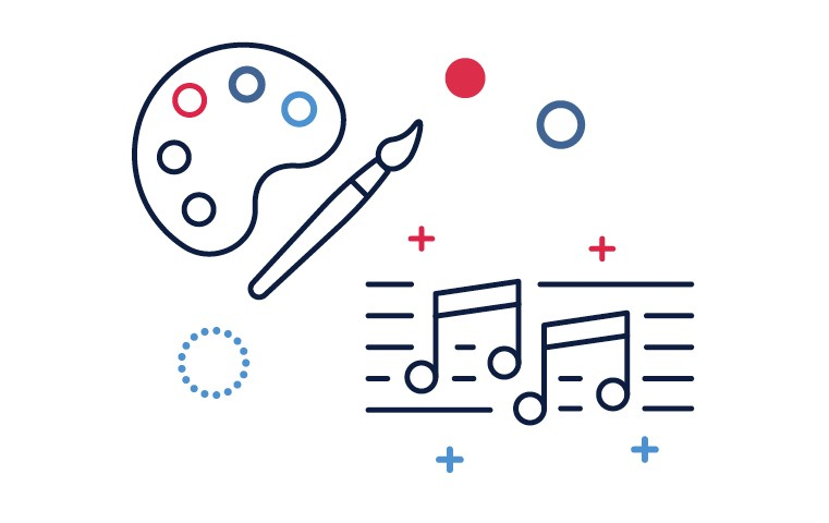 Graphic of musical notation and a paint brush.
