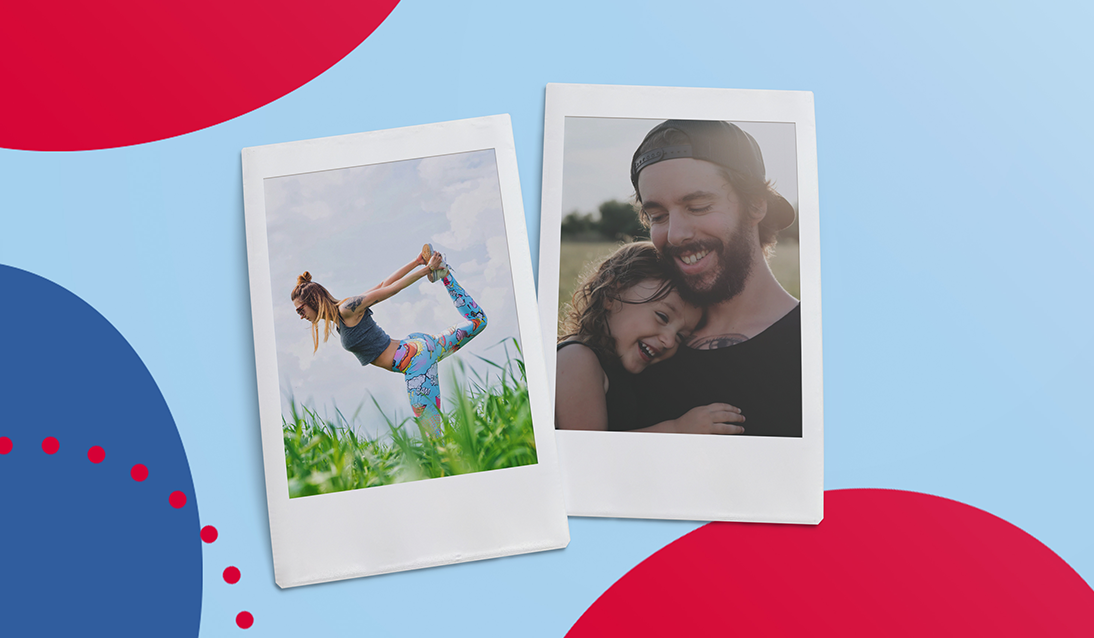 Polaroids pictures of woman doing yoga and a daughter hugging her father.
