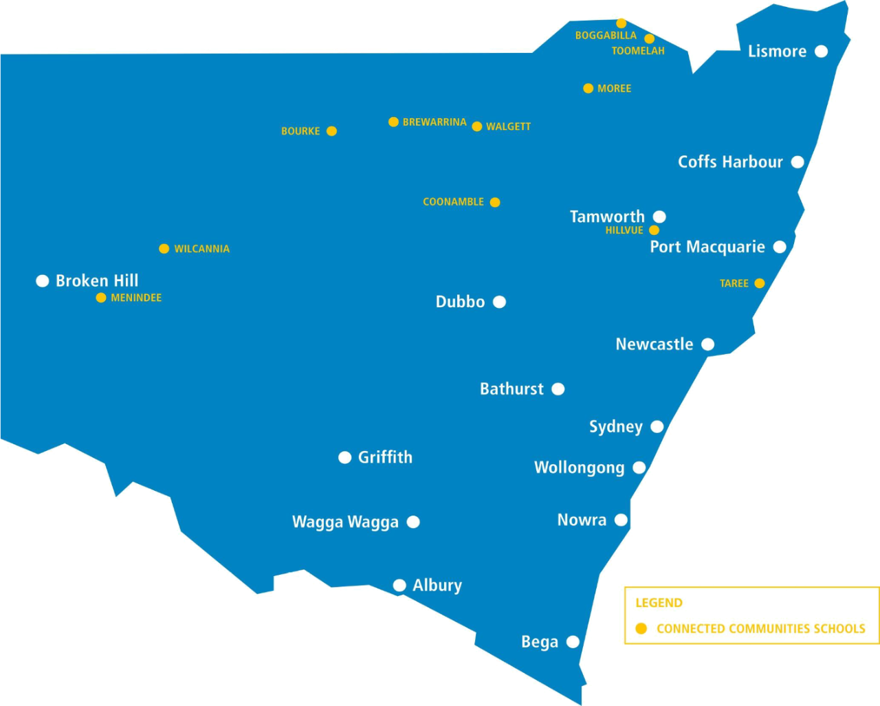 Map of NSW with Connected Communities locations marked.