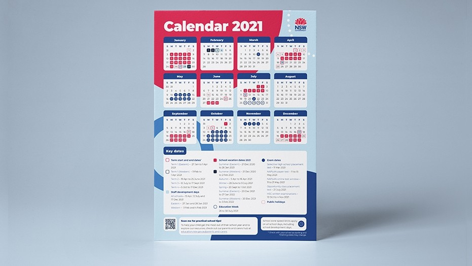 Image of 2021 NSW school calendar