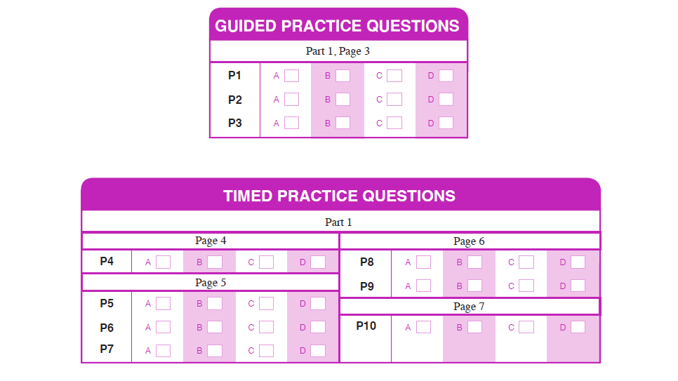 Example of the guided and timed practice questions.