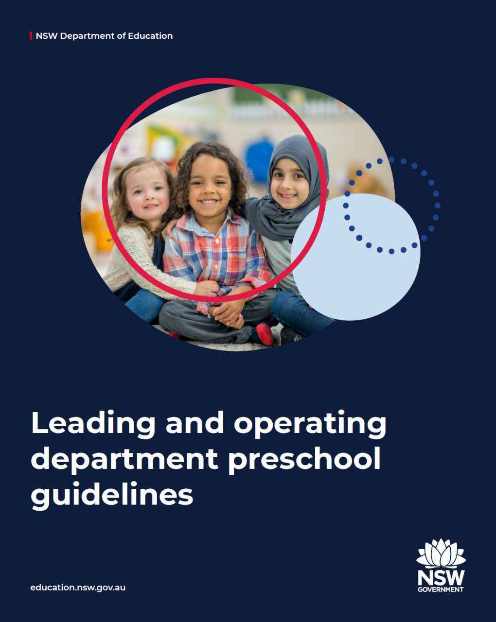 Cover image of the Leading And Operating Department Preschool Guidelines featuring three smiling children sitting on the floor.