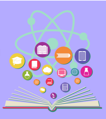 Open book with atom symbol above it and a number of various icons depicting different subjects and other measures.