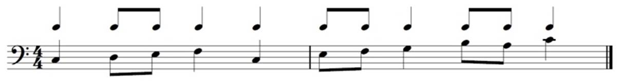 Sample music notation showing rythm and pitch notation for bass clef