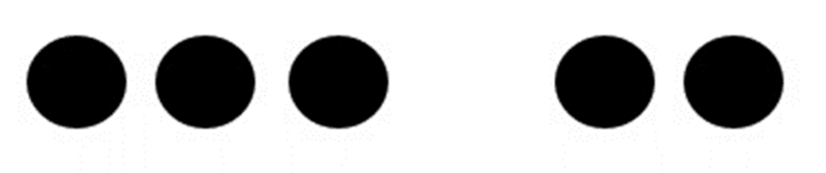 Five large dots grouped three space two