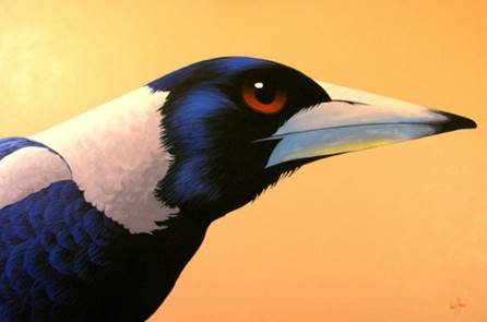 A painting of a magpie head in profile.