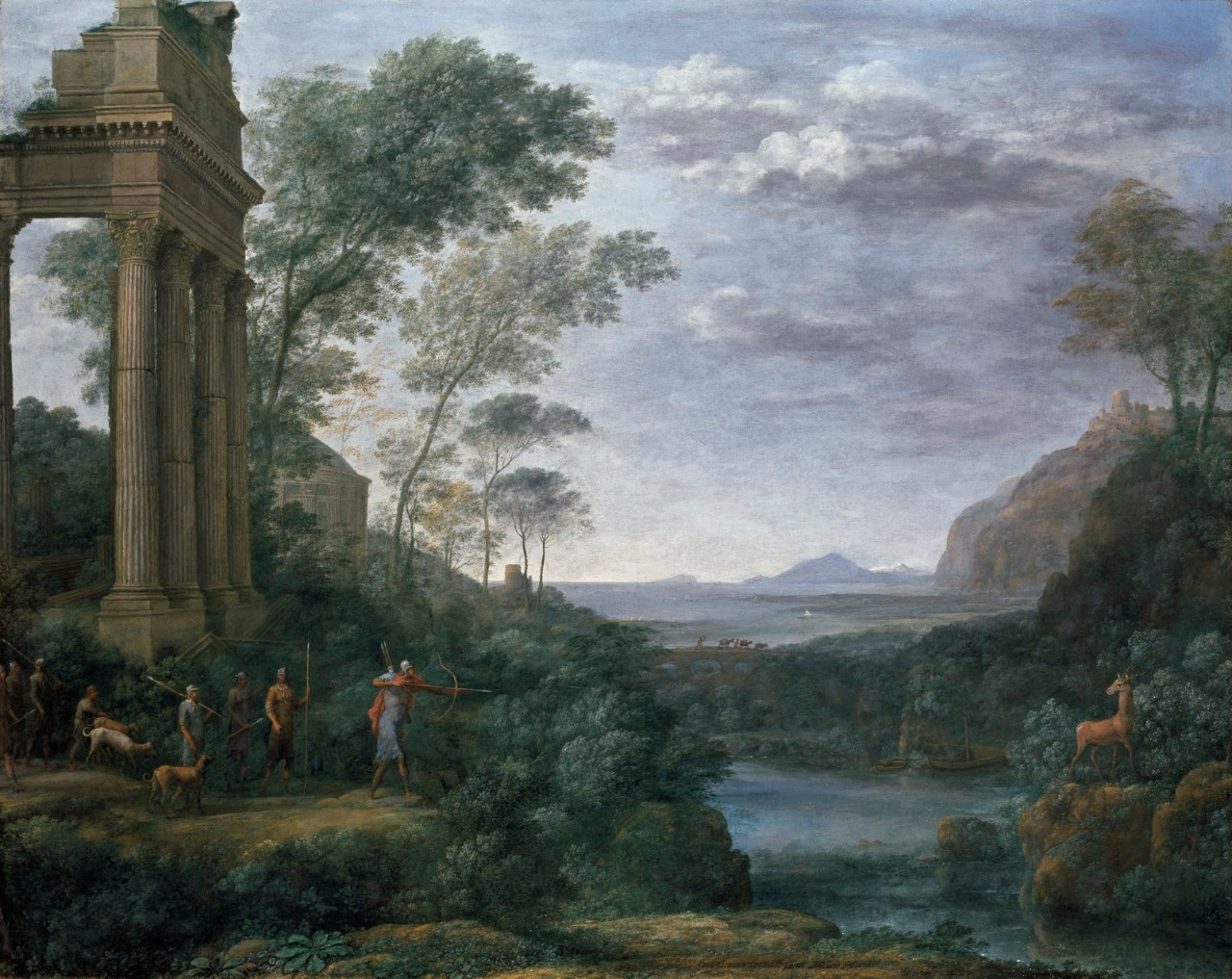 Painting by Claude Lorrain showing Ascanius shooting the stag of Sylvia, a landscpe paiting whowing a group of hunters on one side of a river and the stag on the other.