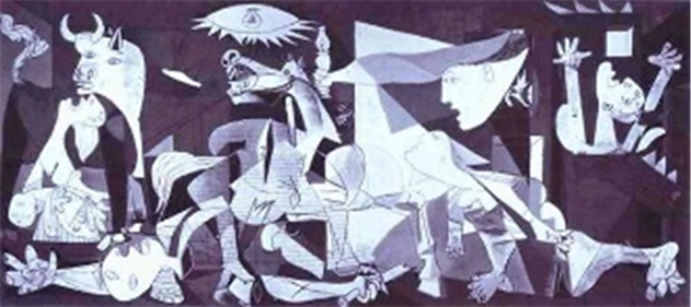 Pablo Picasso painting Guernica depicts a battle lie seen with parts of animals and people.