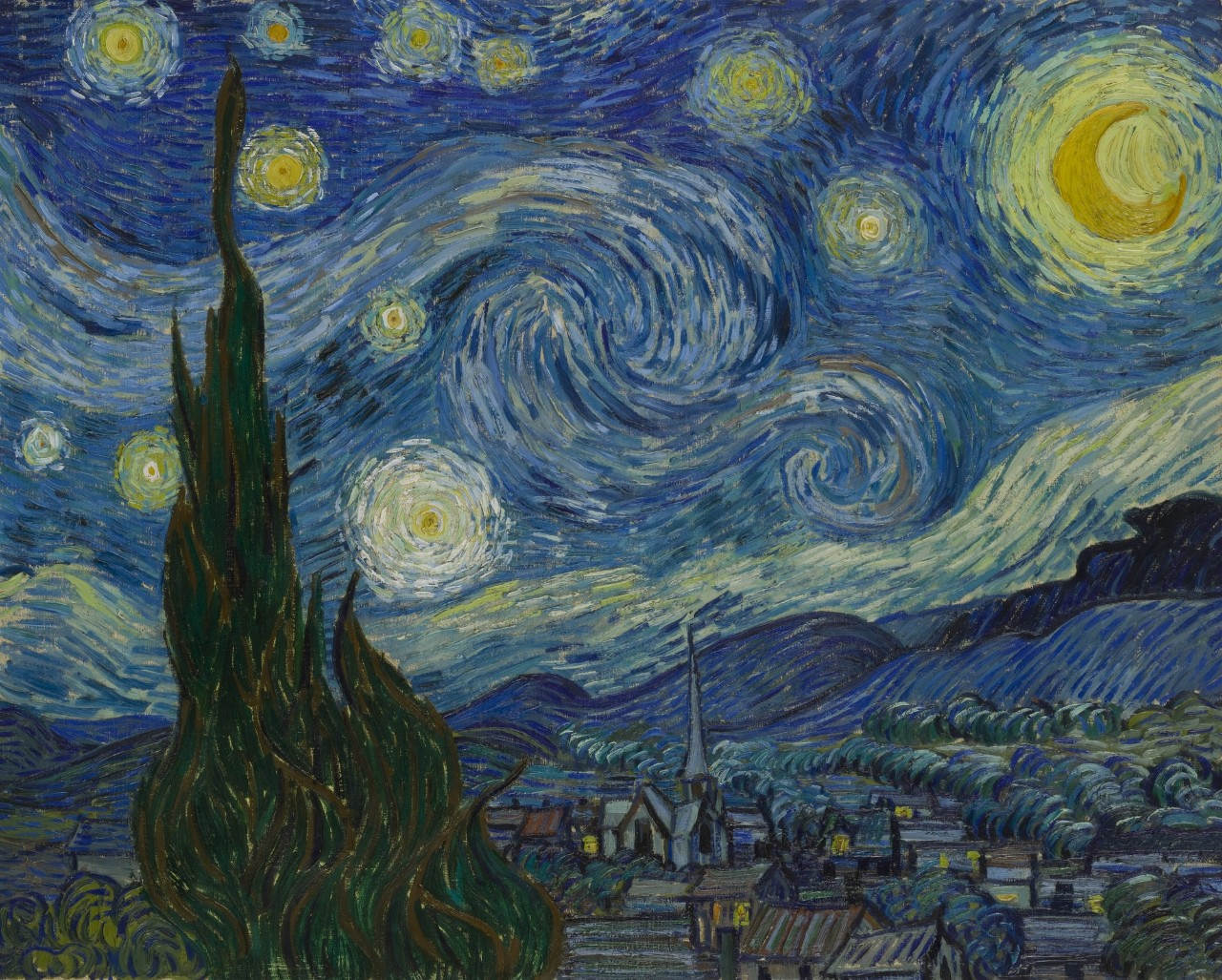 A painting by Vincent Van Gogh showing swirrly stars in a night sky over a peaceful village.