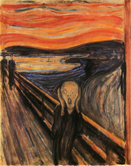 Painting by Edvard Munch showing a screaming figure on a bridge with a bright orange sky.