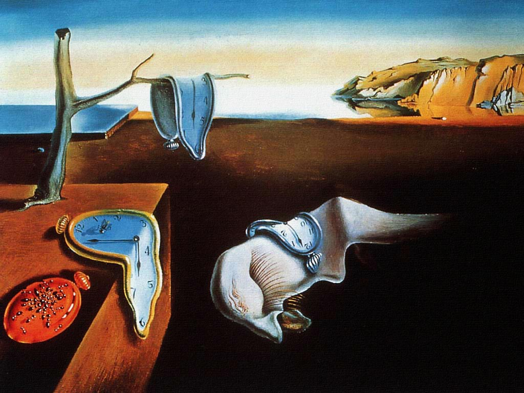 The persistence of memory is a painting by Salvador Dali showing three clocks faces that have melted in a sparse landscape scene.