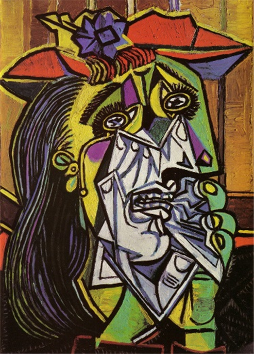 A painting by Pablo Picasso of a weeping woman.