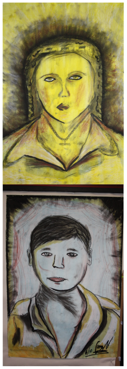Two examples of student self portraits one with a golden glow and the other in more muted tones.