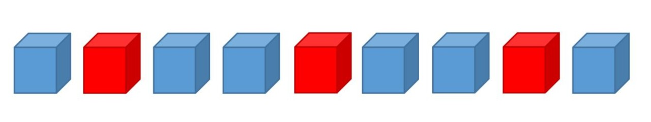 Example of 9 cubes in an ABA pattern using blue and red cubes