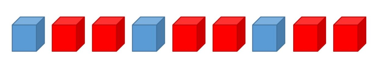 example of 9 cubes in an ABB pattern using blue, red and yellow cubes